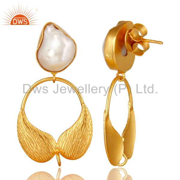 Exporter 18K Gold Plated Brass Natural Pearl Angel Wing Designer Dangle Post Finding
