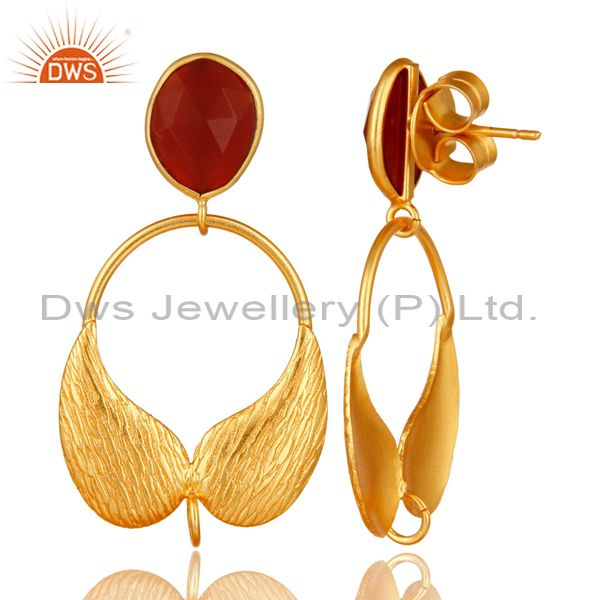 Exporter 18K Gold Plated Brass Red Onyx Angel Wing Designer Dangle Post Finding