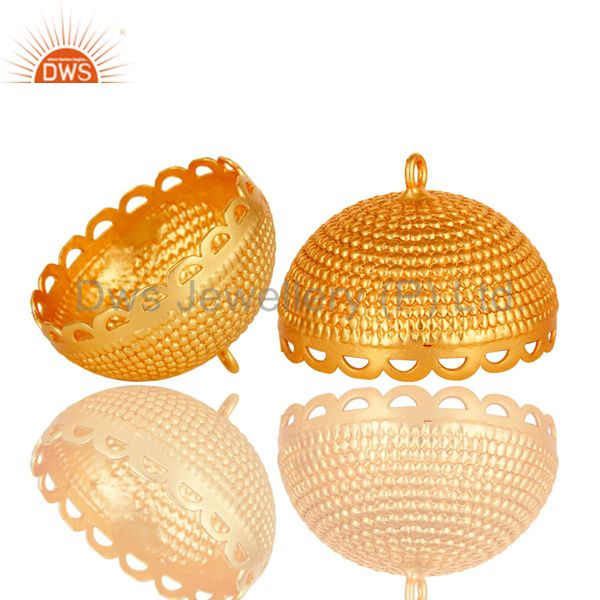 Exporter 18K Yellow Gold Plated Brass Rope Traditional Jhumka Component