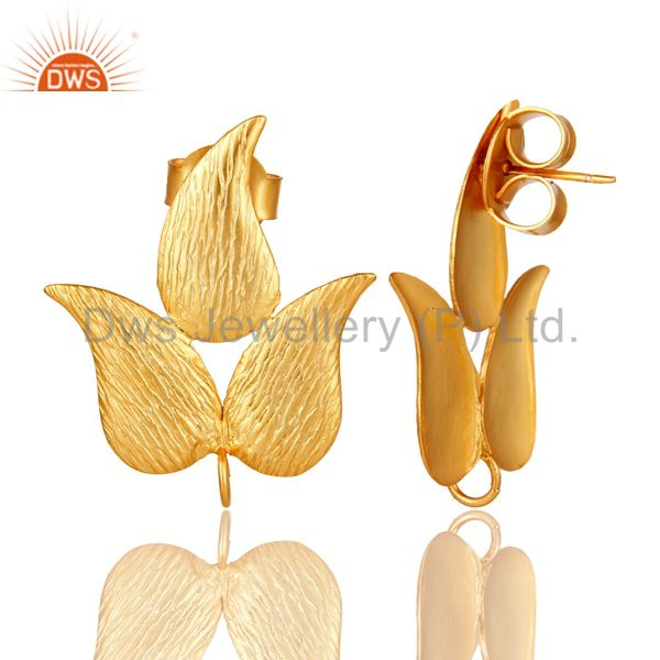 Exporter 18K Yellow Gold Plated Brass Brushed Finish Leaf Design Post Stud Finding