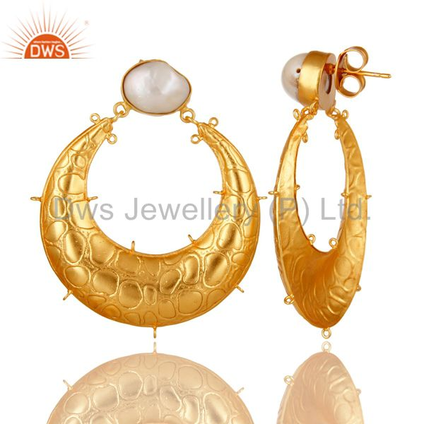 Exporter Handmade Natural Pearl 18K Yellow Gold Plated Brass Designer Finding