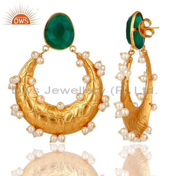 Exporter Pearl and Green Onyx 18K Gold Plated Dangler Earring Indian Traditional Earring