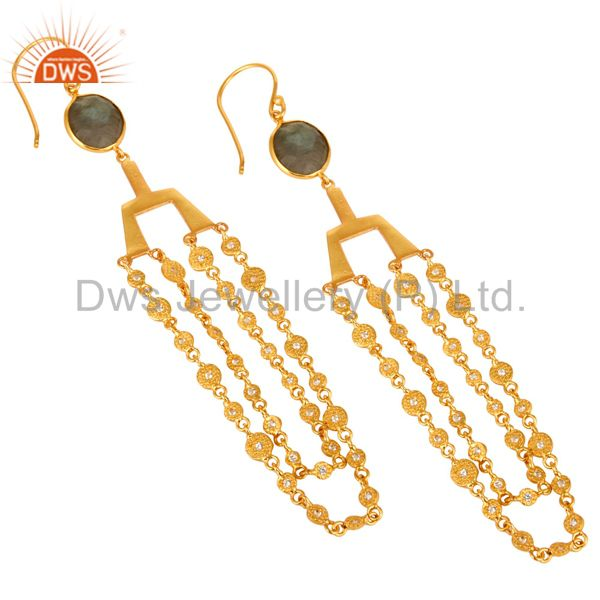 Exporter 24K Yellow Gold Plated Brass Labradorite Gemstone Chain Chandelier Earrings