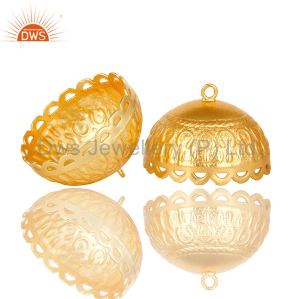 Exporter 22K Yellow Gold Plated Brass Floral Engraved Traditional Jhumka Earrings