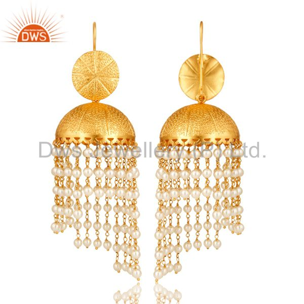 Exporter 24K Yellow Gold Plated Brass White Pearl Indian Traditional Jhumka Earrings