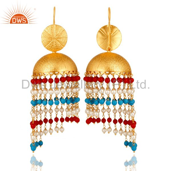 Exporter 22K Yellow Gold Plated Brass Turquoise, Red Coral & Pearl Jhumka Dangle Earrings