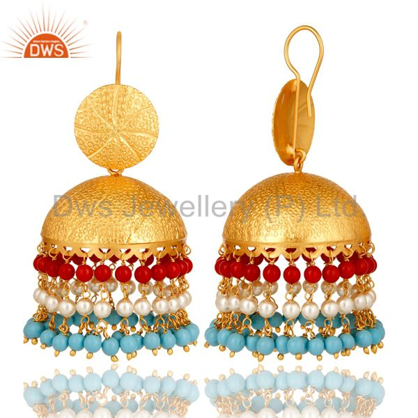Exporter 22K Matte Gold Plated Red Coral, Turquoise And Pearl Jhumka Dangle Earrings