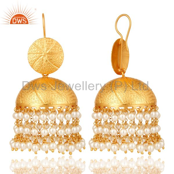 Exporter 22K Matte Gold Plated Pearl Jhumka Dangle Earring Traditional Jewelry