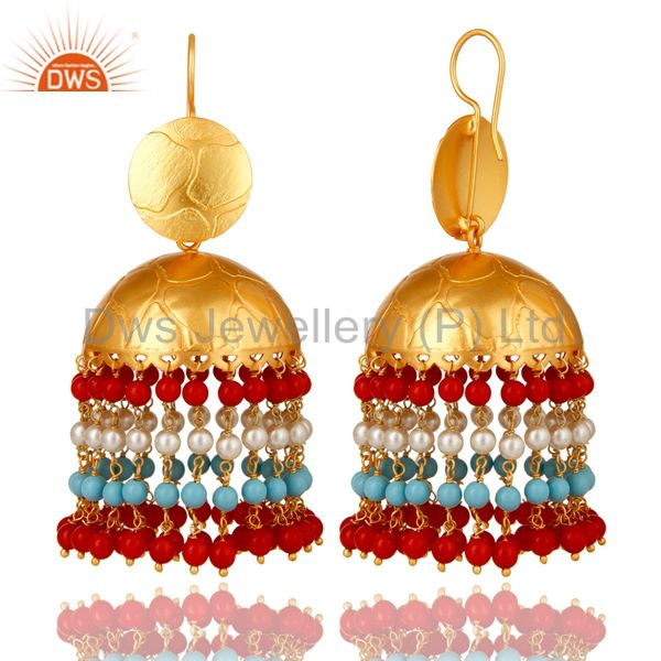 Exporter 22K Gold Plated Red Coral, Turquoise And Pearl Jhumka Fashion Dangle Earrings