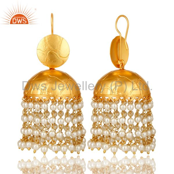 Exporter 24K Yellow Gold Plated Brass Pearl Beads Indian Traditional Jhumka Earrings