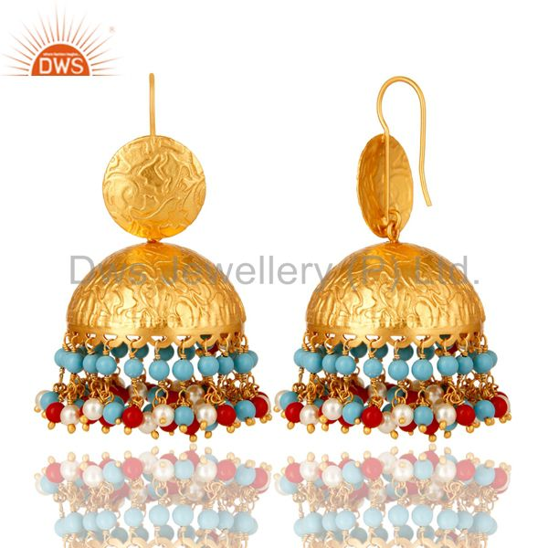 Exporter 22K Gold Plated Red Coral, Turquoise And Pearl Indian Fashion Dangle Earrings