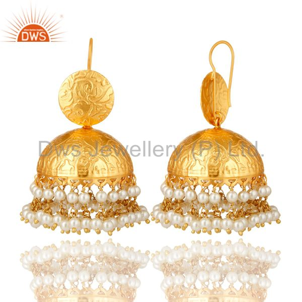 Exporter 24K Yellow Gold Plated Brass Pearl Beaded Indian Traditional Jhumka Earrings