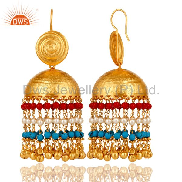Exporter 18K Gold Plated Matte Finish Traditional Pearl Coral Turquoise Jhumki Earring