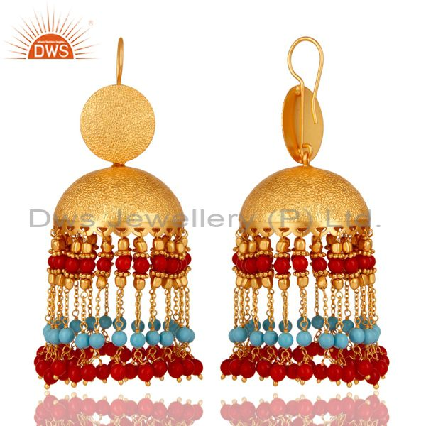 Exporter Cultured Coral and Turquoise 18K Gold Plated Jhumka Earring