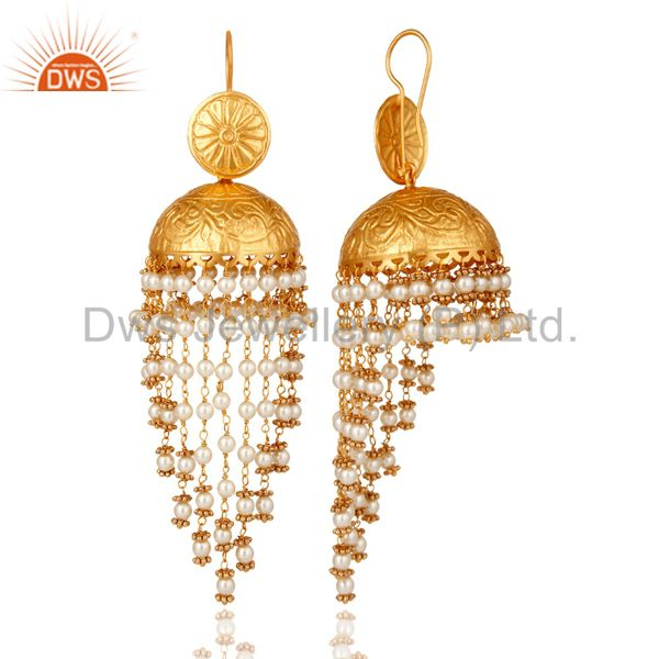 Exporter White Pearl Beaded 18K Gold Plated Beautiful Jhumki Earring for Her