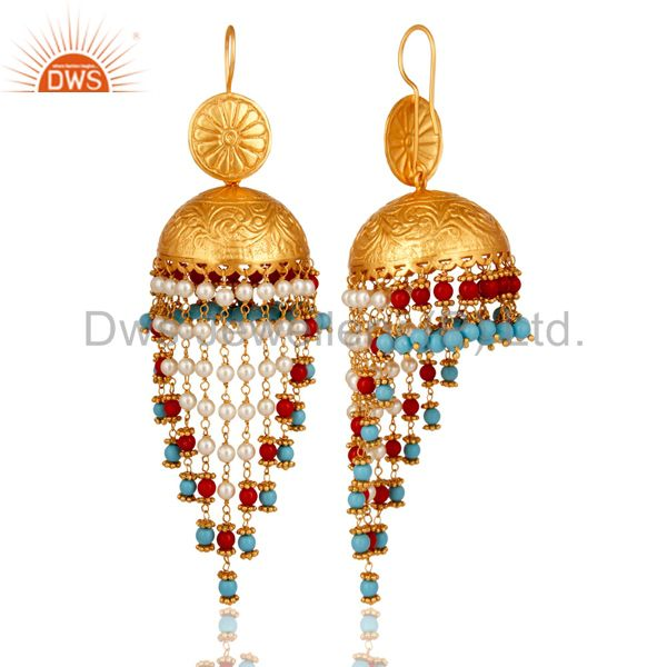 Exporter 18K Gold Plated Coral Cultured Pearl and Turquoise Cultured Jhumki Earring