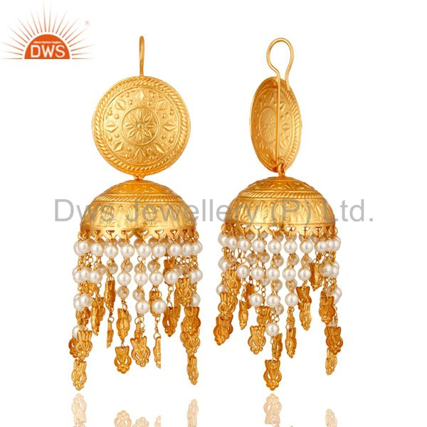 Exporter 18K Gold Plated White Pearl Beaded Jhumki Earring Fashion Jewelry