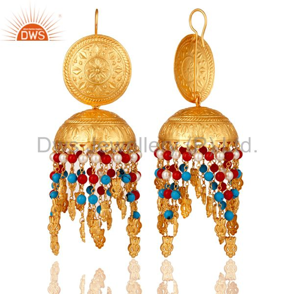 Exporter 18K Gold Plated Coral  Pearl and Turquoise Cultured Traditional Jhumki Earring