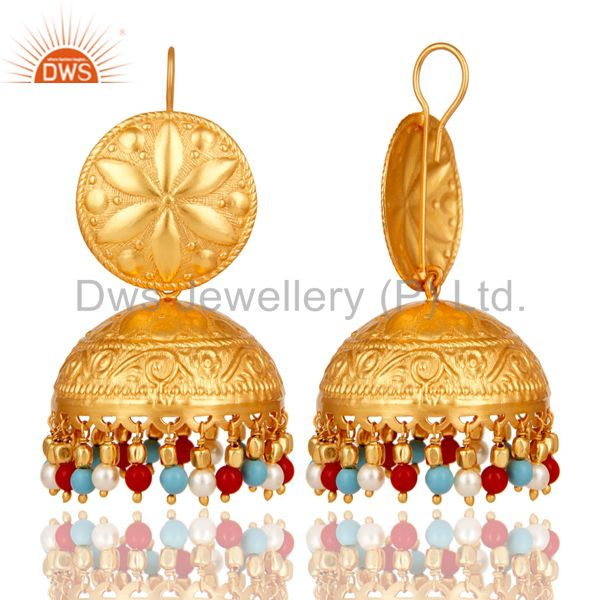 Exporter 18K Gold Plated Pearl Coral and Turquoise Cultured Traditional Jhumki Earring