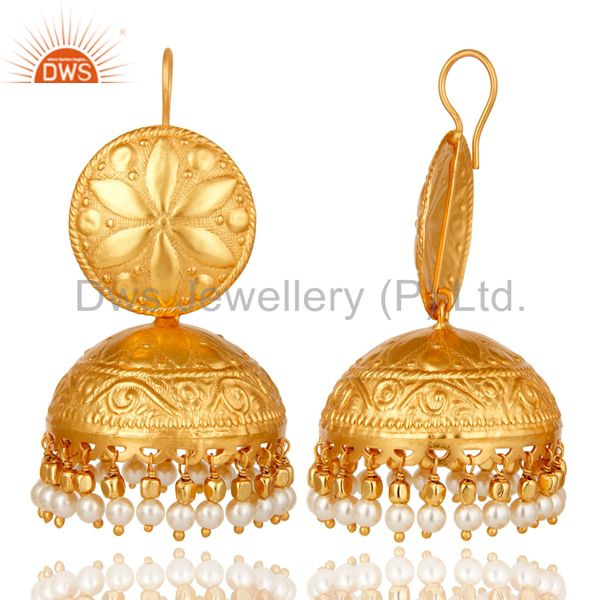Exporter 18K Gold Plated Pearl Traditional Jhumki Earring Indian Jhuka