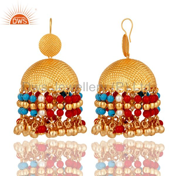Exporter 18K Gold Plated Pearl Coral Cultured and Turquoise Traditional Jhumki Earring
