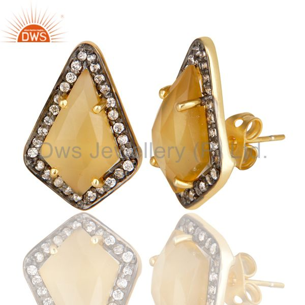 Exporter 14K Gold Plated Handmade Dyed Chalcedony & CZ Prong Set Studs Brass Earrings