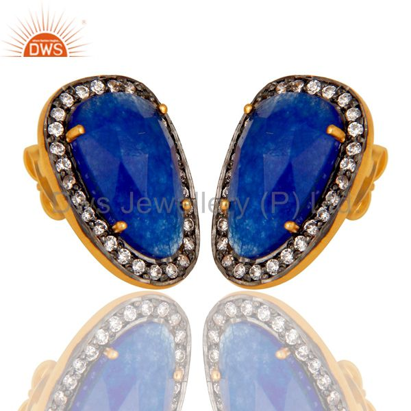 Exporter Natural Blue Aventurine and White CZ Yellow Gold Plated Stud Boutique Jewelry