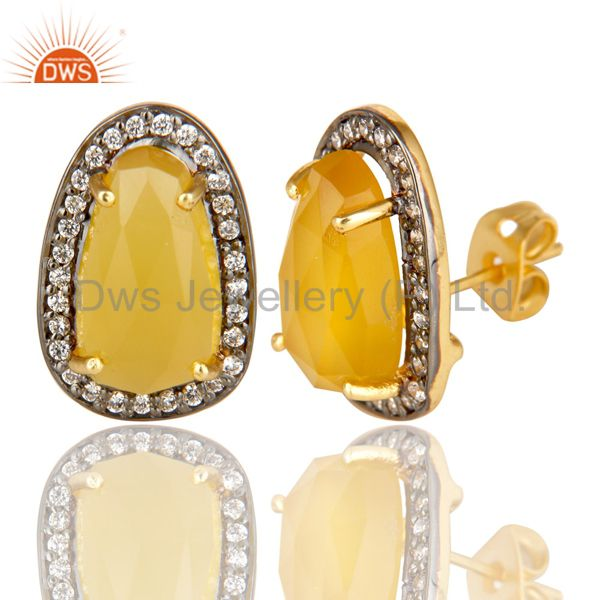 Exporter 14K Gold Plated Handmade Yellow Chalcedony & CZ Prong Set Studs Brass Earrings