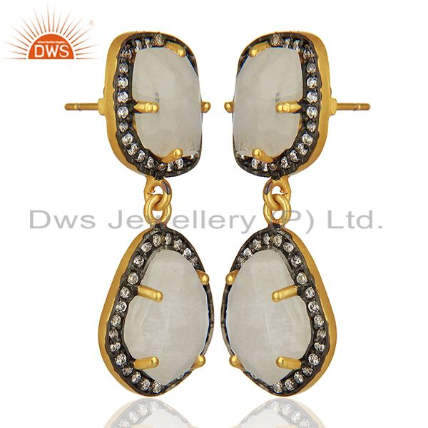 Exporter Rainbow Moonstone and Cz Gemstone Brass Earrings Manufacturer