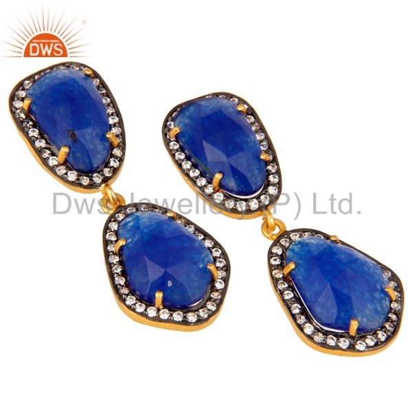 Exporter Natural Blue Aventurine and White CZ 18K Gold Plated Drop Dangle Earring Stud
