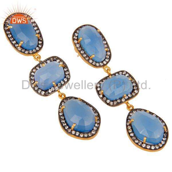 Exporter Natural Chalcedony and White CZ 18K Gold Plated Drop Dangle Earring Stud