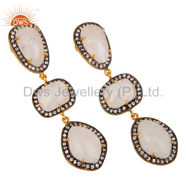 Exporter Natural Moonstone and White CZ 18K Gold Plated Drop Dangle Earring Stud