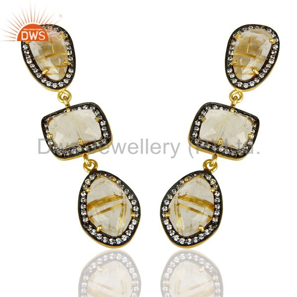 Exporter Handmade Golden Routile Quartz White Zircon Dangle Brass Gift Earrings Jewelry
