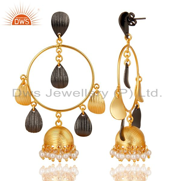 Exporter 14K Yellow Gold Plated Traditional Handmade Round Pearl Jhumka Brass Earrings
