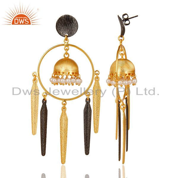 Exporter 14K Yellow Gold Plated Traditional Handmade Pearl Beads Jhumka Brass Earrings