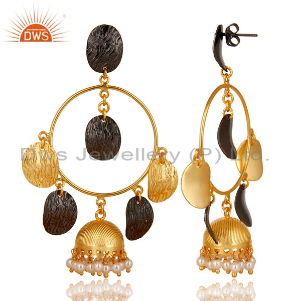 Exporter 14K Gold Plated & Black Oxidized Traditional Pearl Beads Jhumka Brass Earrings