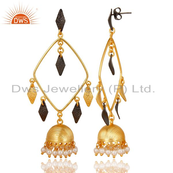 Exporter 14K Yellow Gold Plated & Black Oxidized Pearl Beads Jhumka Brass Earrings