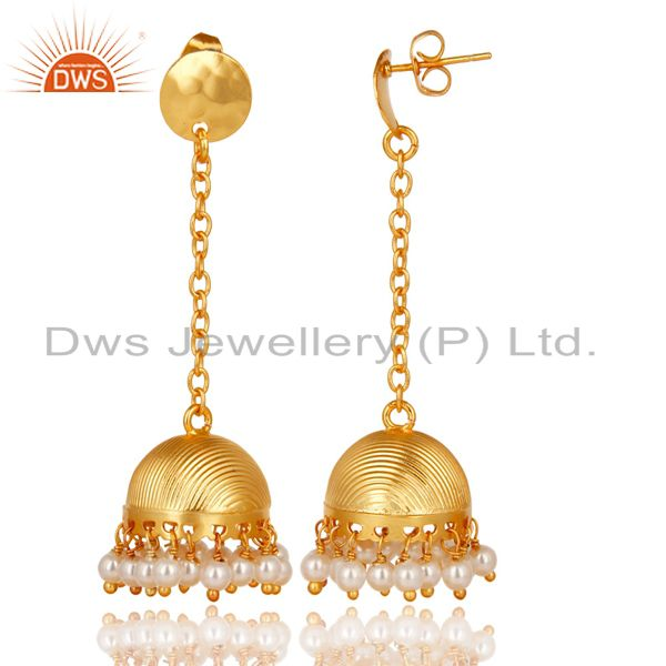 Exporter Traditional Handmade 14K Yellow Gold Plated Pearl Beads Jhumka Brass Earrings