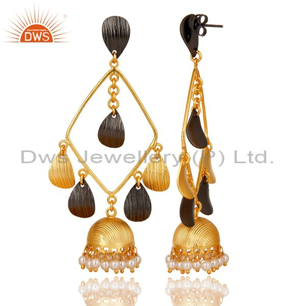 Exporter Traditional Handmade 14K Gold Plated & Black Oxidized Pearl Jhumka Brass Earring