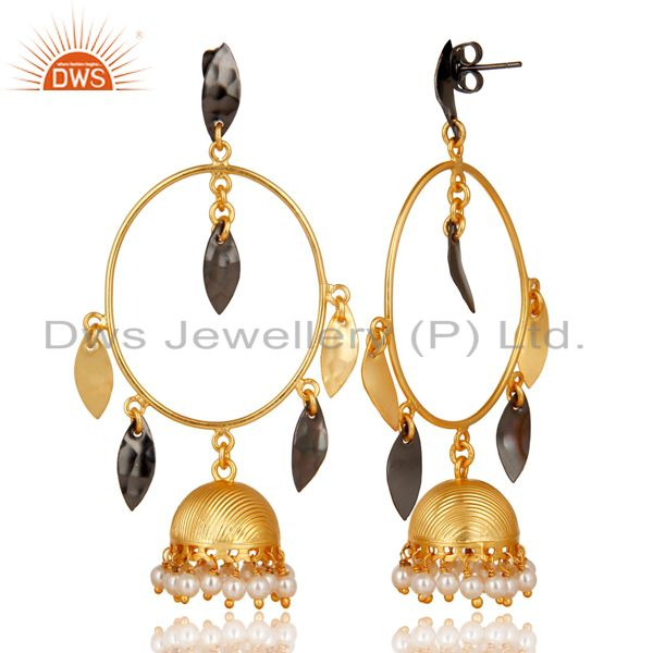 Exporter Traditional Handmade Pearl Beads Brass Earrings With 14K Yellow Gold Plated