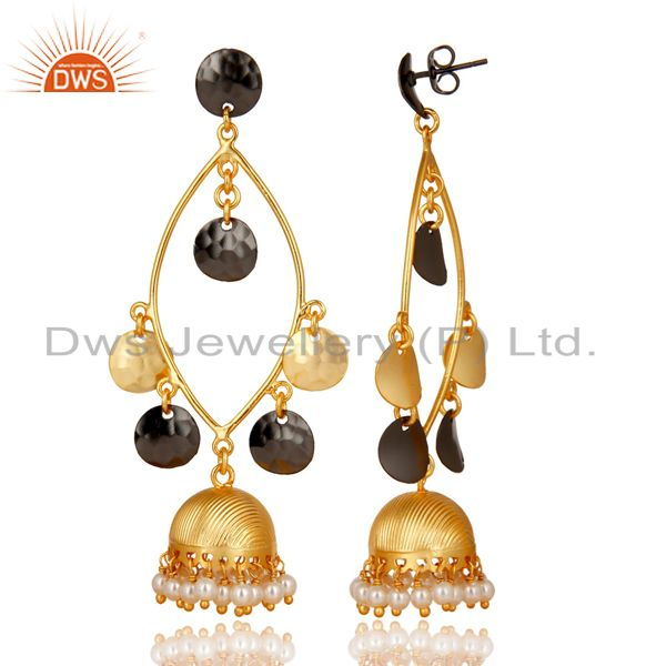 Exporter Traditional Handmade Pearl Beads Jhumka Brass Earrings Made In 14K Gold Plated