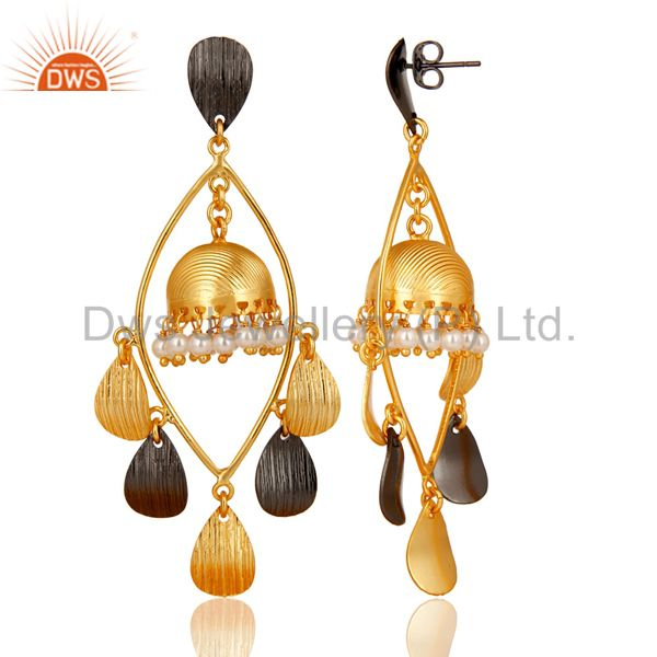 Exporter Traditional Handmade Round Pearl Jhumka Brass Earrings Made In 14K Gold Plated