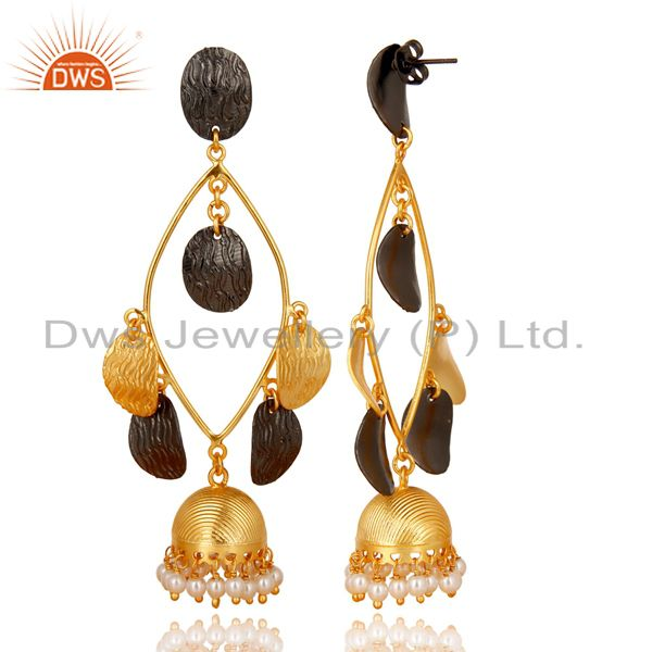 Exporter Traditional 14K Gold Plated & Black Oxidized Pearl Beads Jhumka Brass Earring