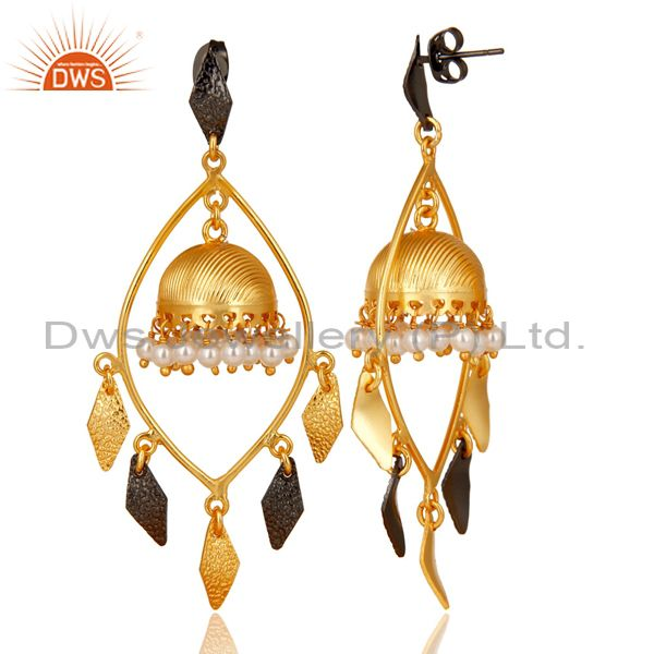 Exporter Traditional Handmade 14K Gold Plated & Oxidized Pearl Beads Jhumka Brass Earring