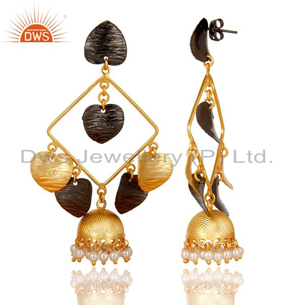 Exporter 14K Yellow Gold Plated Traditional Handmade Pearl Round Jhumka Brass Earrings