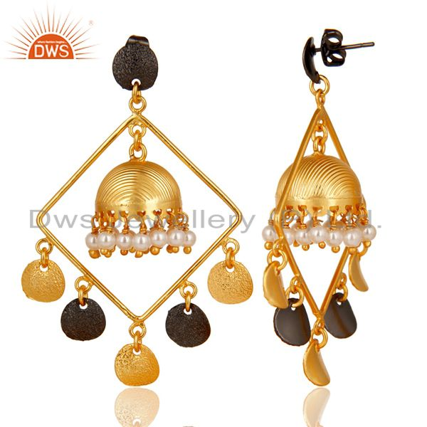 Exporter 14K Gold Plated & Oxidized Traditional Handmade Pearl Round Jhumka Brass Earring