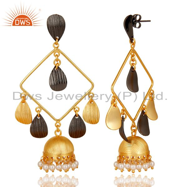 Exporter 14K Gold Plated & Oxidized Traditional Handmade Pearl Jhumka Brass Earrings