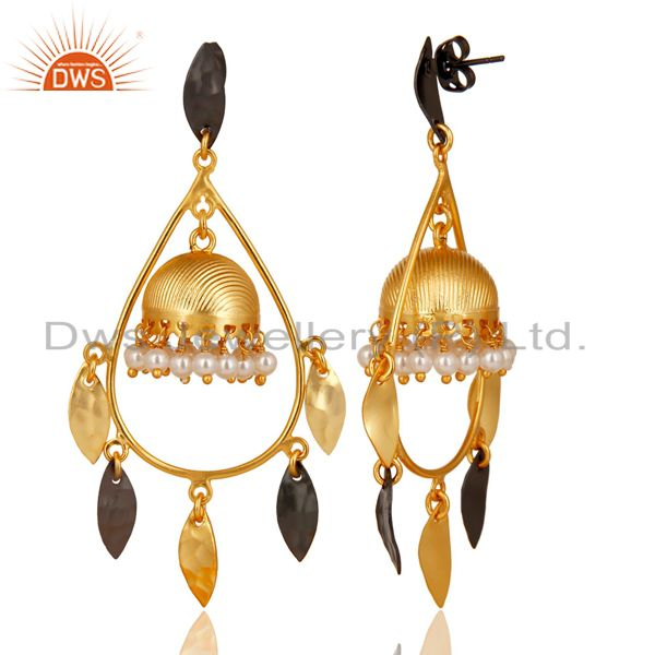 Exporter Gold Plated & Black Oxidized Traditional Pearl Jhumka Brass Earrings