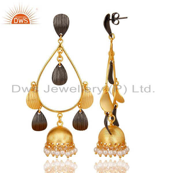 Exporter Natural Pearl Gemstone Brass Gold Plated Fashion Jhumka Earrings