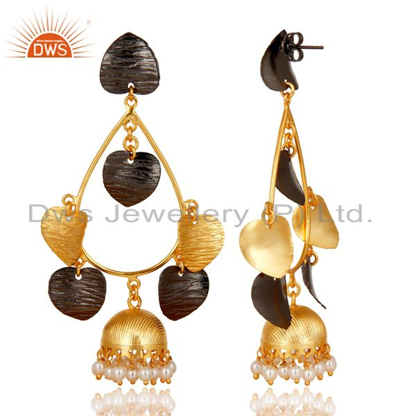 Exporter 14K Yellow Gold Plated & Oxidized Traditional Pearl Beads Jhumka Brass Earrings